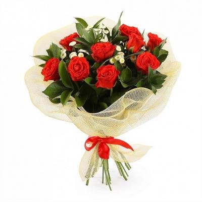 Букет розы в сетке