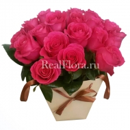 Розовые розы в плайм-пакете