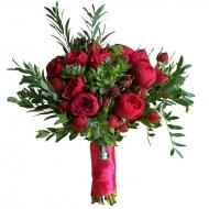 Букет из пионовидных роз с эхевериями