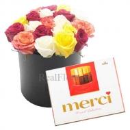 21 роза в коробке  + конфеты Merci
