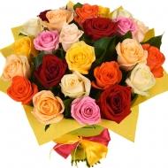 №8 Букет 25 разноцветных роз