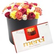 35 роз в коробке + конфеты Merci